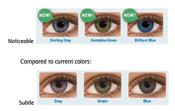 The new colors Sterling Gray, Gemstone Green, and Brilliant Blue are noticeable compared to the current colors Gray, Green and Blue which are subtle.