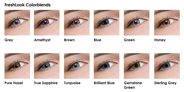 FreshLook Colorblends - Grey, Amethyst, Brown, Blue, Green, Honey, Pure Hazel, True Sapphire, Turquoise, Brilliant Blue, Gemstone Green, and Sterling Grey