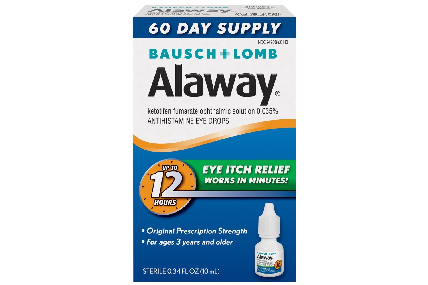 Bausch & Lomb Alaway 60 Day Supply Eye Itch Relief Drops and Treatment (.34 fl oz)