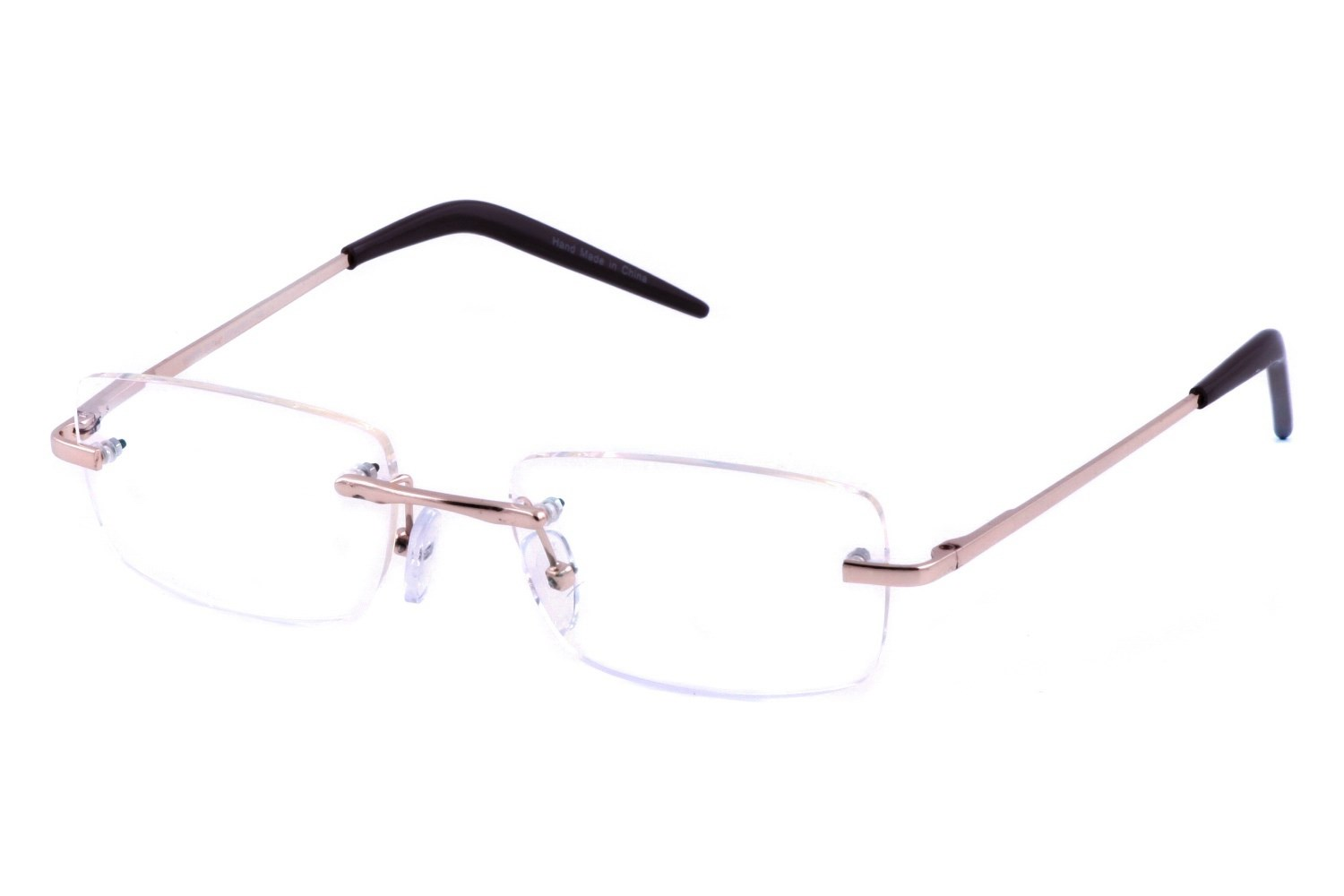 Computer Eyed CE-104 Gold Rectangle Rimless Computer Reading Glasses