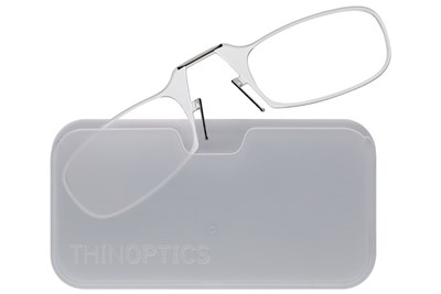 ThinOPTICS Reading Glasses with Universal Pod Case Bundle Clear