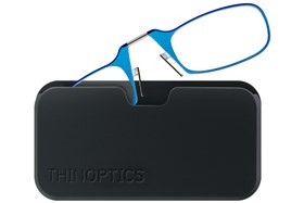 ThinOPTICS Reading Glasses with Universal Pod Case Bundle Blue